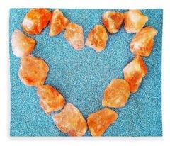 Pink Rocks Heart Fleece Blanket