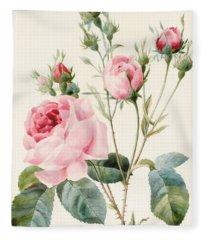 Pink Rose And Buds Fleece Blanket