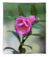 Pink Rose Flower Fleece Blanket