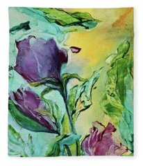 Pink Rosebuds Fleece Blanket