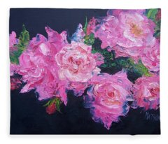 Pink Roses Oil Painting Fleece Blanket