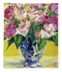 Pink Roses In Blue Deft Vase Fleece Blanket