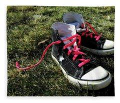 Pink Shoe Laces Fleece Blanket