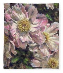 Pink Single Peonies Fleece Blanket