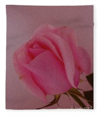 Pink Single Rose Fleece Blanket