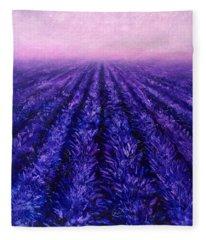 Abstract Lavender Field Landscape - Contemporary Landscape Painting - Amethyst Purple Color Block Fleece Blanket