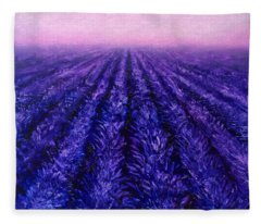 Abstract Lavender Field Landscape - Contemporary Landscape Painting - Amethyst Purple Color Block Fleece Blanket