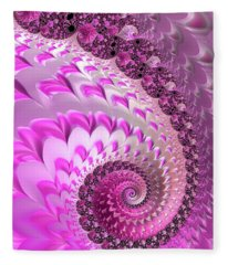 Pink Spiral With Lovely Hearts Fleece Blanket