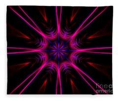 Pink Starburst Fractal  Fleece Blanket