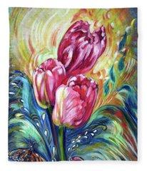Pink Tulips And Butterflies Fleece Blanket