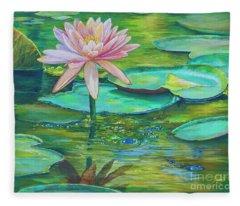 Pink Water Lily Fleece Blanket