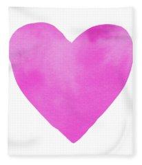 Pink Watercolor Heart- Art By Linda Woods Fleece Blanket