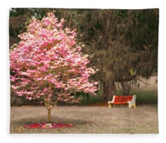 Pinky And The Bench - Impressionism Fleece Blanket