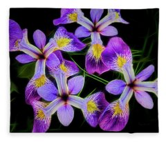 Pinwheel Purple Iris Glow Fleece Blanket