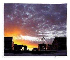 Pioneer Town Sunset Fleece Blanket