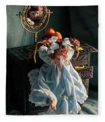 Pippi Longstocking And A Plate Of Nectarines Fleece Blanket