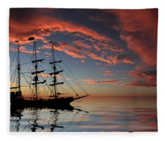 Pirate Ship At Sunset Fleece Blanket