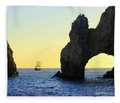 Pirate Ship El Arch Arch Cabo San Lucas Fleece Blanket