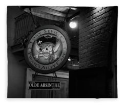 Pirates Alley Cafe Sign In Black And White Fleece Blanket