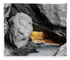 Pirate's Cave, Black And White And Gold Fleece Blanket