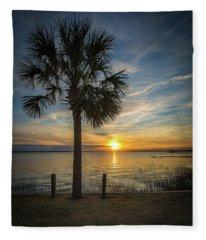 Pitt Street Bridge Palmetto Tree Sunset Fleece Blanket