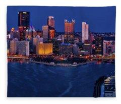 Pittsburgh At Night Fleece Blanket