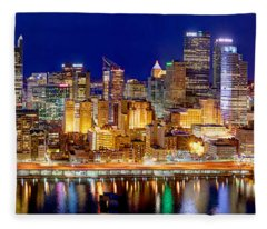 Pittsburgh Pennsylvania Skyline At Night Panorama Fleece Blanket