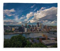 Pittsburgh Pennsylvania Skyline Blue Fleece Blanket