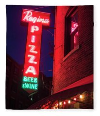Pizzeria Regina Boston Ma North End Thacher Street Neon Sign Fleece Blanket