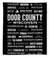 Places Of Door County On Black Fleece Blanket