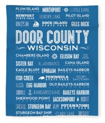 Places Of Door County On Blue Fleece Blanket