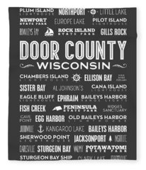 Places Of Door County On Gray Fleece Blanket