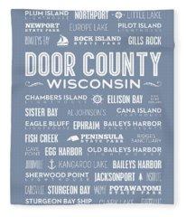 Places Of Door County On Light Blue Fleece Blanket