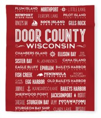 Places Of Door County On Red Fleece Blanket