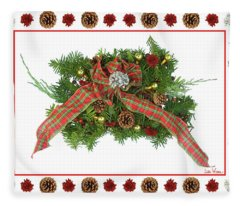 Plaid Bow With Christmas Regalia Fleece Blanket