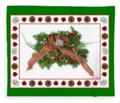 Plaid Bow With Christmas Regalia Fleece Blanket