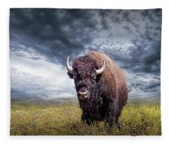 Plains Buffalo On The Prairie Fleece Blanket