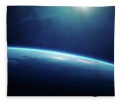 Planet Earth Sunrise From Space Fleece Blanket