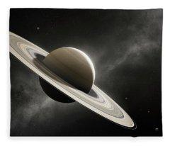 Planet Saturn With Major Moons Fleece Blanket
