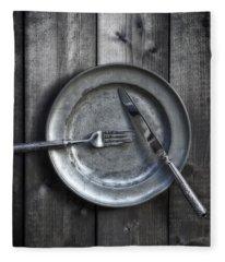 Plate With Silverware Fleece Blanket