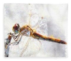Platinum White Dragonfly Watercolor Fleece Blanket