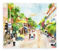 Playa Del Carmen Mexico Shops Fleece Blanket