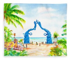 Playa Del Carmen Portal Maya Statue Fleece Blanket