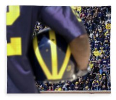 Player Cradling Helmet In Stadium Fleece Blanket