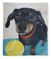 Playful Dachshund Fleece Blanket