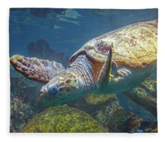Playful Green Sea Turtle Fleece Blanket