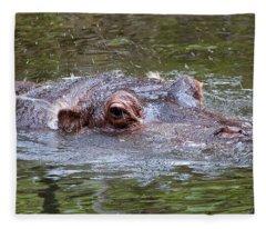 Playful Hippopotamus Fleece Blanket