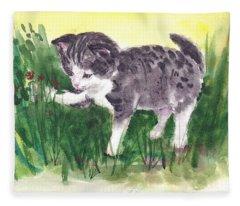Playful Kitten Fleece Blanket