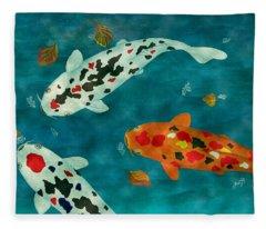 Playful Koi Fishes Original Acrylic Painting Fleece Blanket