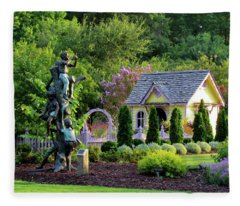Playhouse In The Garden Fleece Blanket